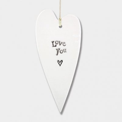 Porcelain Long Hanging Heart - I Love You