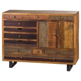 Multi Drawer Reclaimed Industrial Chest With Brass Handle
