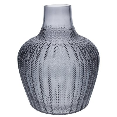 Grey Ribbed Vase