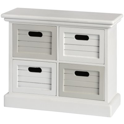 White and Grey Multi Purpose Four Drawer Unit