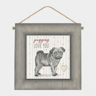Black Wooden Frame - Pugging love you