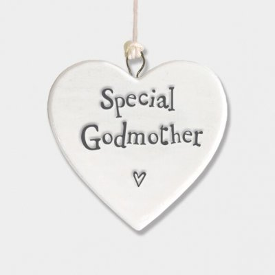 Small Porcelain Round Heart - Special Godmother