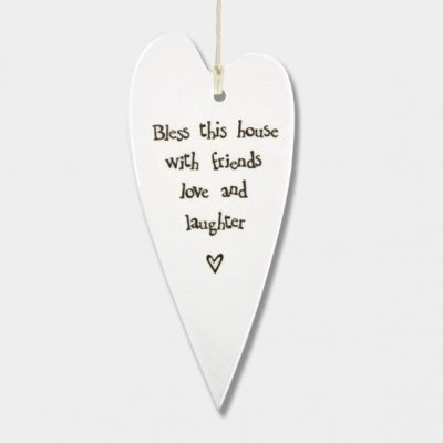 Porcelain Long Hanging Heart - Bless This House