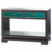 Black/Green Two Drawer Console Table