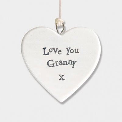 Small Porcelain Round Heart - Love you Granny