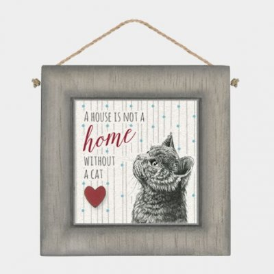 Black Wooden Frame - A house is not a home without a cat