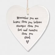 Porcelain Round Heart Remember you are Braver