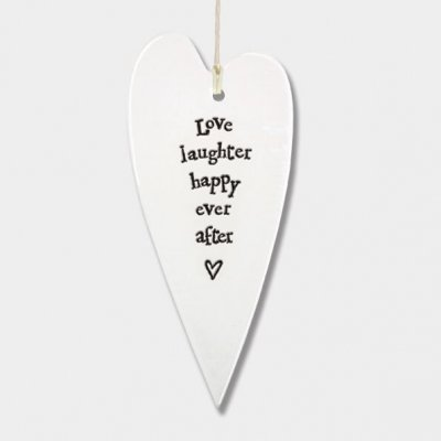 Porcelain Long Hanging Heart - Love Laughter