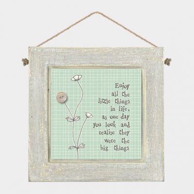 Grey Wooden Hanging Plaque - Enjoy all the little things