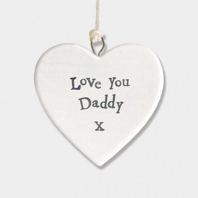 Small Porcelain Round Heart - Love you Daddy