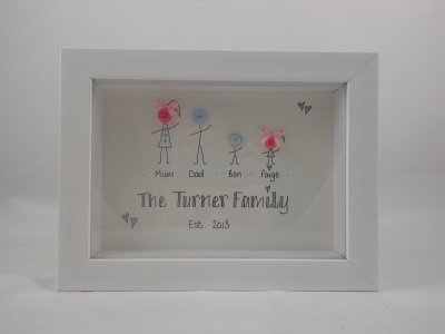 Photo Frame Button Family White