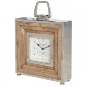 Square Wood and Steel Clock