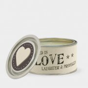 Tin candle-Love laughter & prosecco