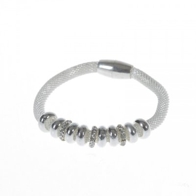 Bracelet - Silver beads and Diamantes with magnetic catch