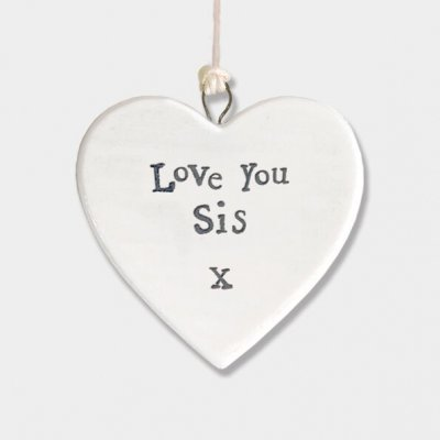 Small Porcelain Round Heart - Love you Sis