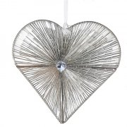 Silver Beaded Hanging Heart Decoration