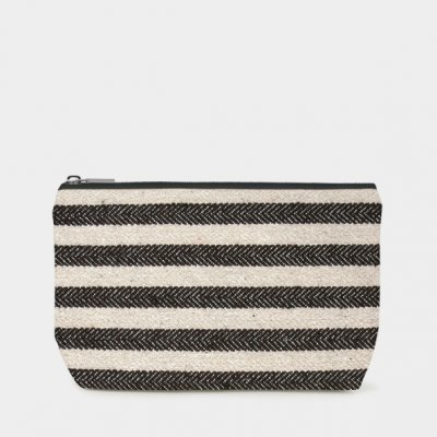 Cosmetic bag-Wide black stripes