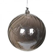 Lit Smoked Glass Hanging Bauble