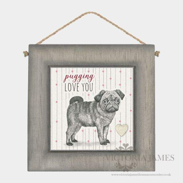 Black Wooden Frame - Pugging love you - Click Image to Close