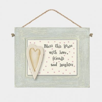 Grey Wooden Hanging Plaque - Bless this House