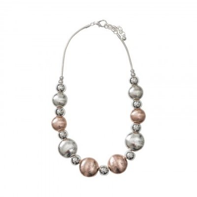 Necklace - Silver and Rose Beads