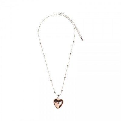 Necklace - Silver chain with Rose Gold/Silver Heart