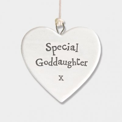 Small Porcelain Round Heart - Special Goddaughter