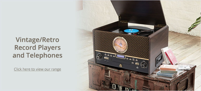 Vintage/Retro Record Players and Telephones - Click here to view our range